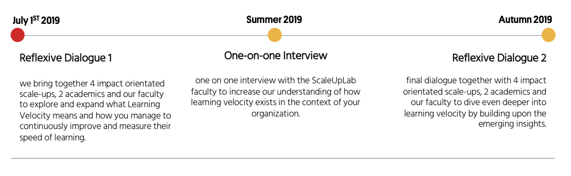 The deep dive first starts with a reflexive dialogue on learning velocity, followed by a one-on-one interview, and then a second reflexive dialogue