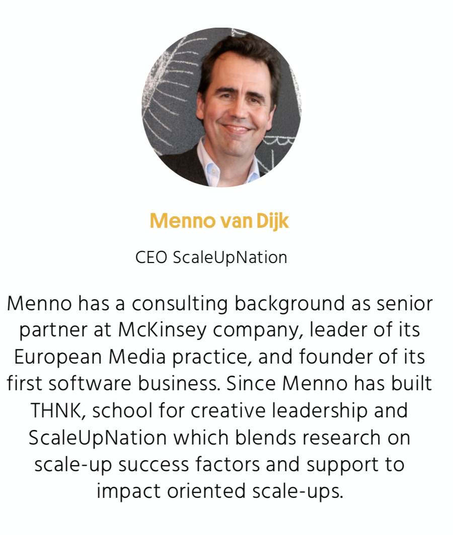 Menno has a consulting background as a senior partner at McKinsey company, leader of its European media practice, and founder of its first software business.